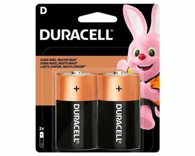Pilha tamanho D Duracell. A embalagem contém 2 pilhas e o mascote da Duracell (um coelho).
