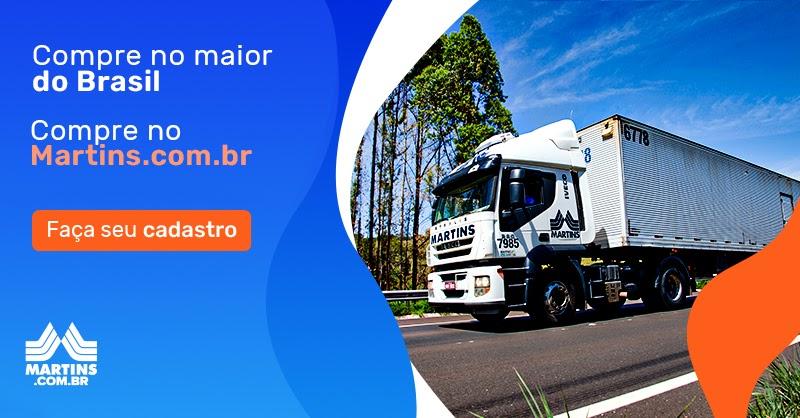 Banner com caminhão do Martins. Ao lado, texto: compre no maior do Brasil. Compre no Martins.com.br. Faça seu cadastro.