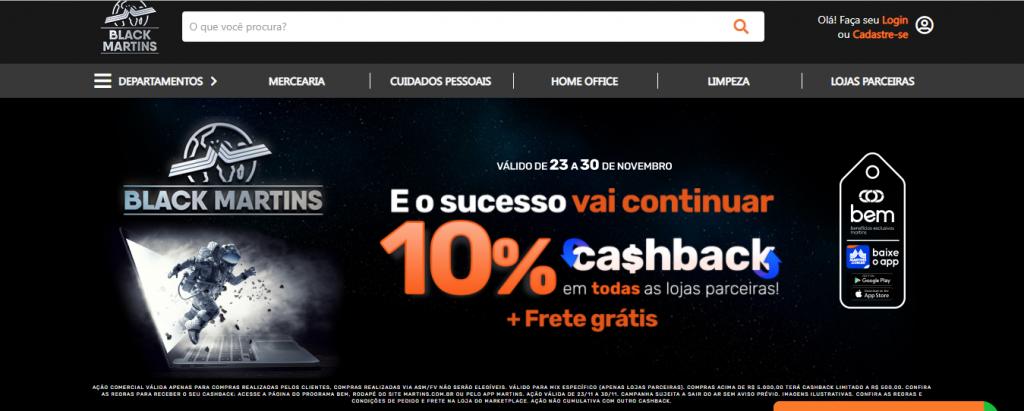 Página inicial do marketplace do Martins.