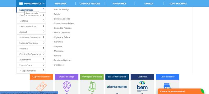 Menu de departamentos com as categorias de produto do site do Martins