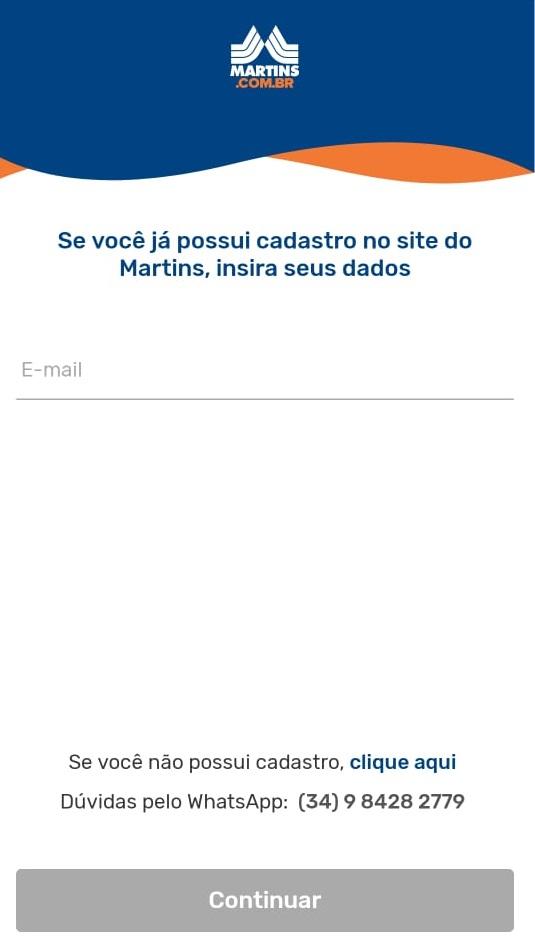 tela 2 de como instalar o Martins Atacado Online
