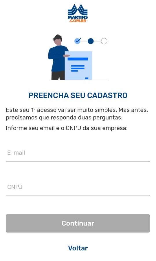 tela 3 de como instalar o Martins Atacado Online