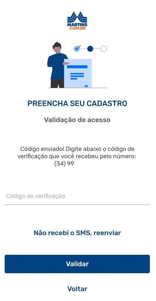 tela 5 de como instalar o Martins Atacado Online
