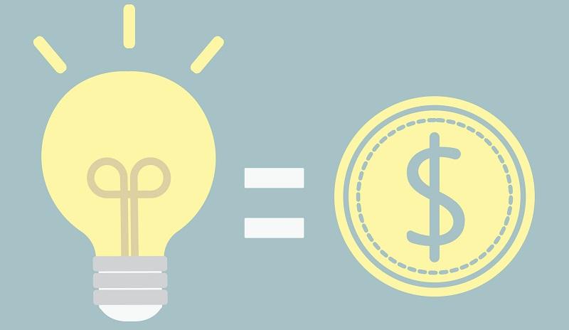 lâmpada ideia dinheiro