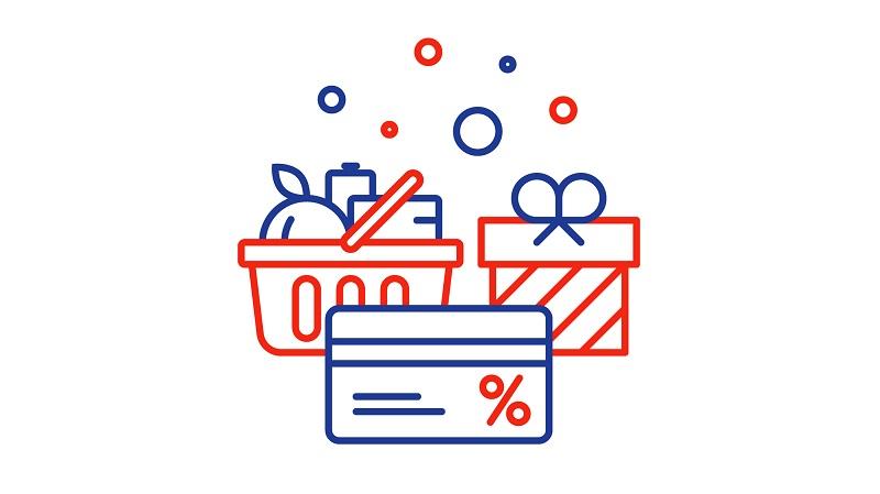 cesta de produtos cartão fidelidade presente