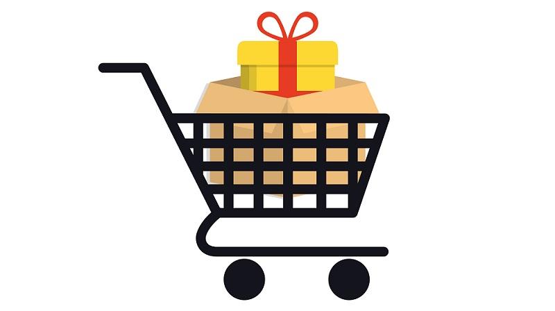 carrinho de compras com presente