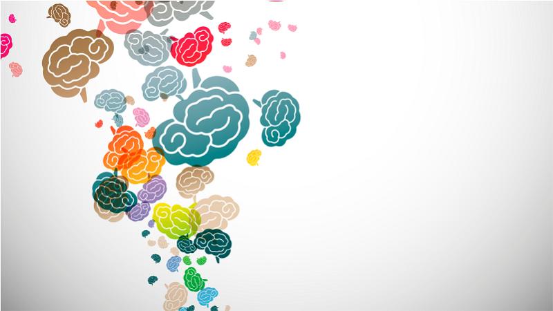 Fundo abstrato de cérebros em cores
