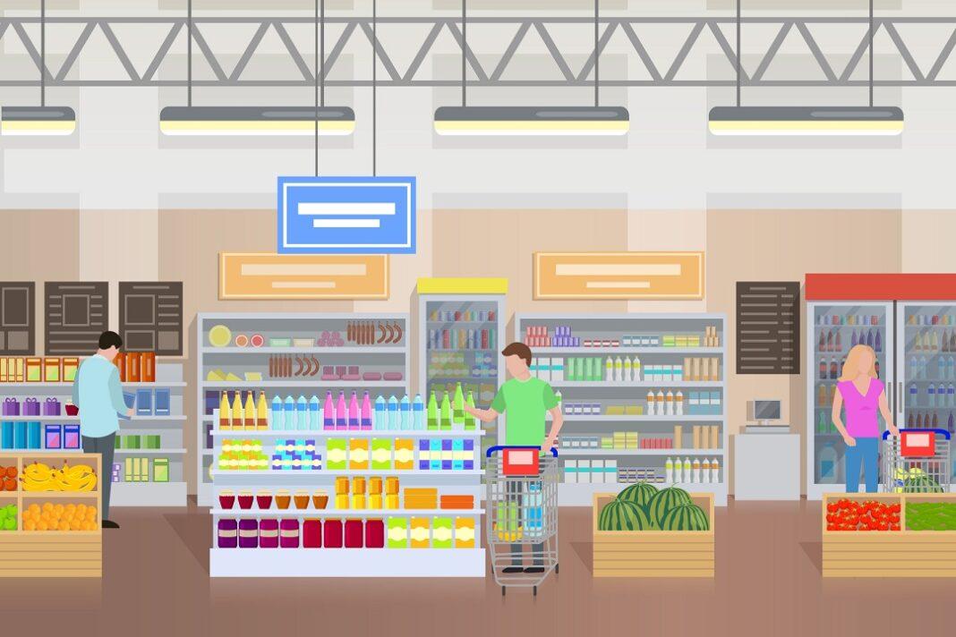 pessoas comprando em supermercado