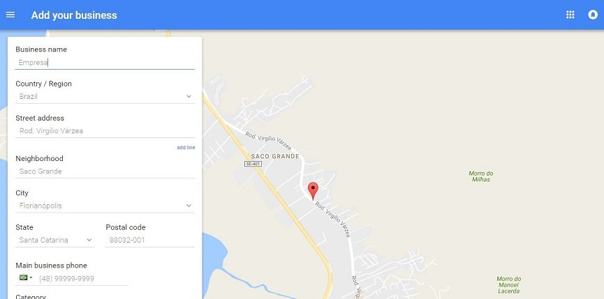 preenchendo o passo 2 do Google Meu Negócio