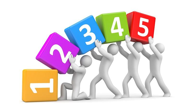 sequência de números trabalho em equipe