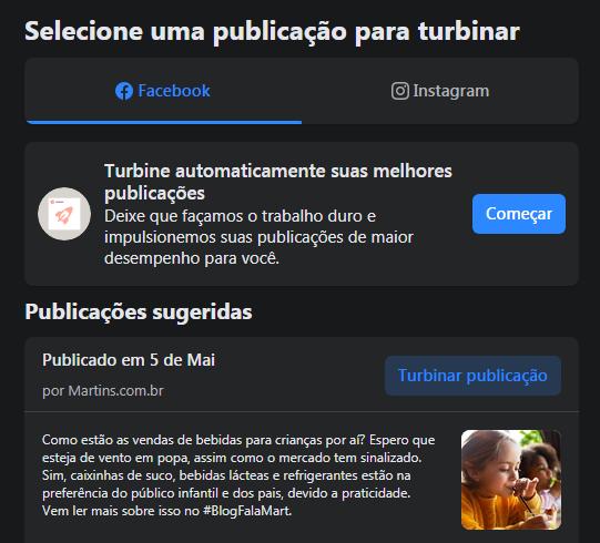 imagem mostra a opção de selecionar publicação para turbinar