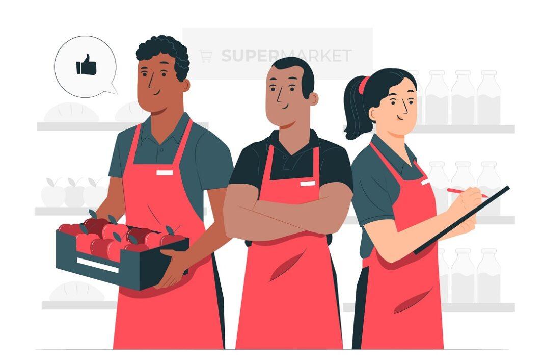 ilustração em vetor de trabalhadores em supermercado