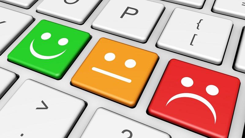 Teclado de feedback em relação ao atendimento ao cliente