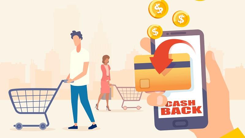 vetor de pessoas comprando e ganhando dinheiro de volta