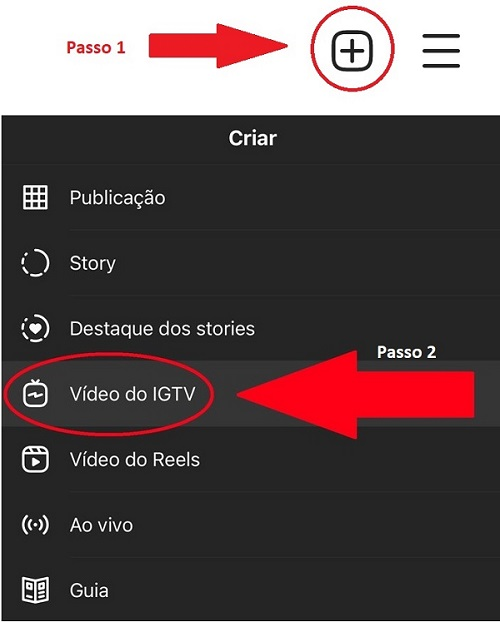 etapas de como gravar vídeos no Instagram IGTV